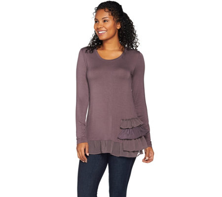 As Is Logo By Lori Goldstein Knit Top With Tiered Trim Detail