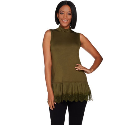 LOGO by Lori Goldstein Mock Neck Knit Tank w/ Lace Ruffle Hem