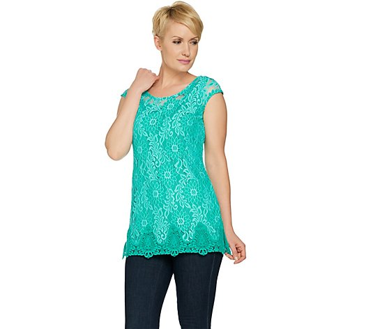 """As Is"" Isaac Mizrahi Live! Extended Shoulder Bi-Color Tunic"