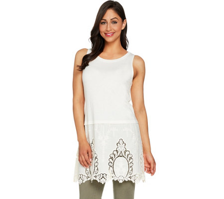 """As Is"" LOGO by Lori Goldstein Long Solid Tank w/Embroidered Panel at Hem"