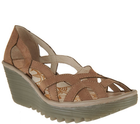 """As Is"" FLY London Leather Slip-on Wedge Sandals - Yadi"