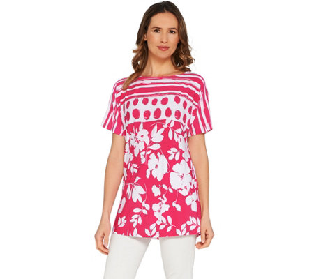 Susan Graver Printed Liquid Knit Extended Sleeve Tunic
