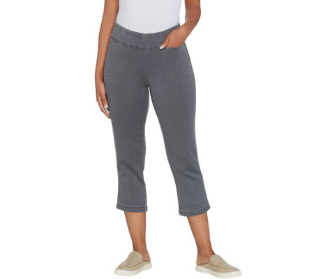 Denim & Co. Smooth Waist Stretch Denim Pull-On Crop Pants