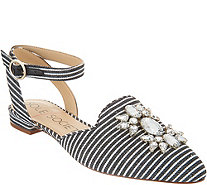 Sole Society Embellished Pointed Toe Flats w/ Strap - Pearla - A305023