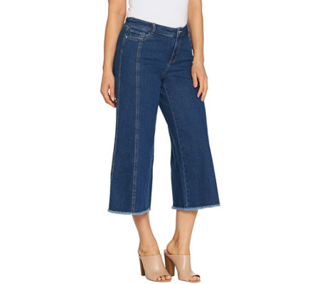 Du Jour Denim Culotte Pants With Fringe Bottom Hem Detail
