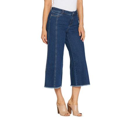 Du Jour Denim Culotte Pants With Fringe Bottom Hem Detail