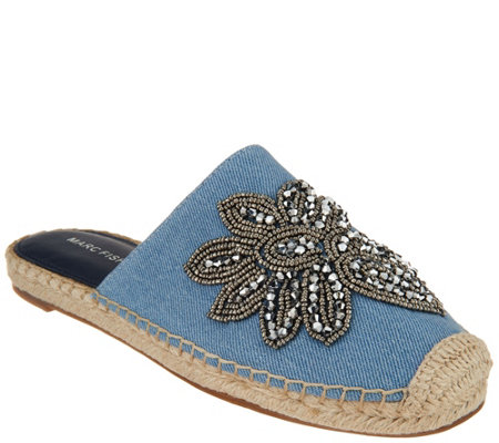 Marc Fisher Embellished Denim Espadrille Mules - Garden