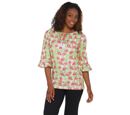 Quacker Factory Flamingo Printed Knit Top with Ruffle Hem
