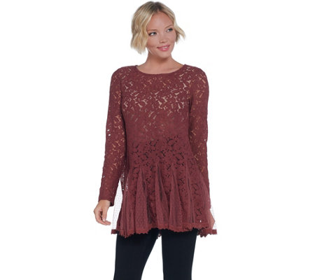 LOGO Lavish by Lori Goldstein Sheer Lace Top with Godets