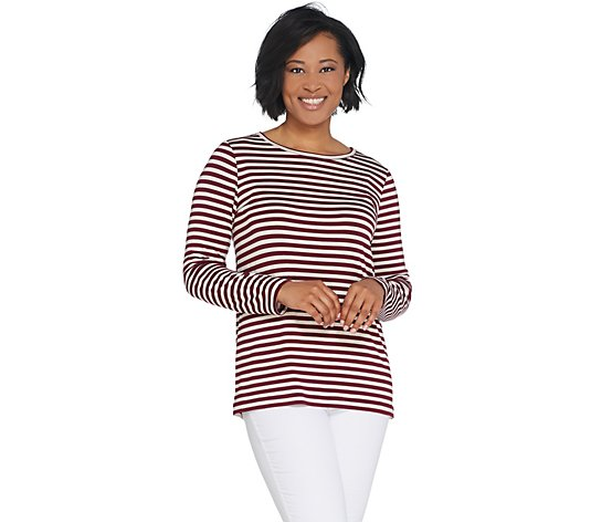 Dennis Basso Striped Knit Long-Sleeve Top