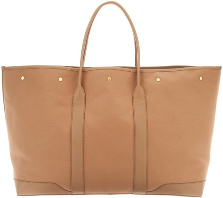 Martha Stewart Large Canvas Tote with Leather Trim
