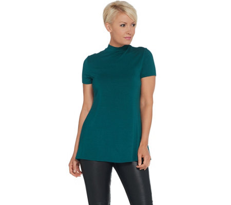 H by Halston Essentials Mock Neck Short-Sleeve Tunic