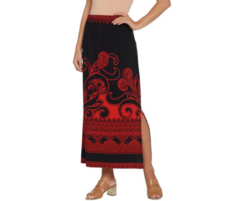 """As Is"" Susan Graver Petite Printed Liquid Knit Maxi Skirt"