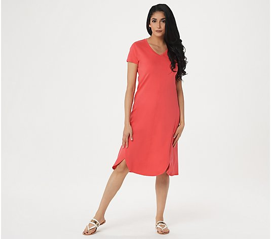 Isaac Mizrahi Live! Regular Essentials Pima Cotton Tulip Hem Midi Dress
