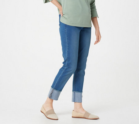 Martha Stewart Regular 5-Pocket Cuffed Girlfriend Ankle Jeans