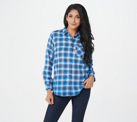 Joan Rivers Button Front Plaid Shirt with Ombre Hem