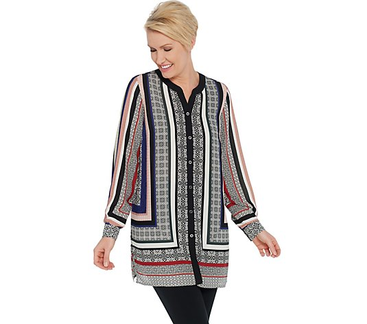 """As Is"" Susan Graver Printed Woven Button- Front Tunic Shirt"