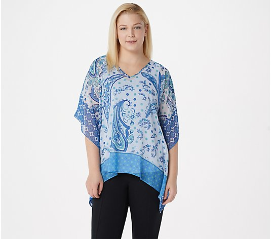 """As Is"" Susan Graver Printed Sheer Chiffon Scarf Top with Knit Tank"