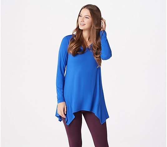 LOGO by Lori Goldstein Rayon 230 Swing Top with Asymmetric Hem