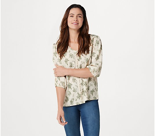 """As Is"" Denim & Co. Printed V-Neck 3/4-Sleeve Top"