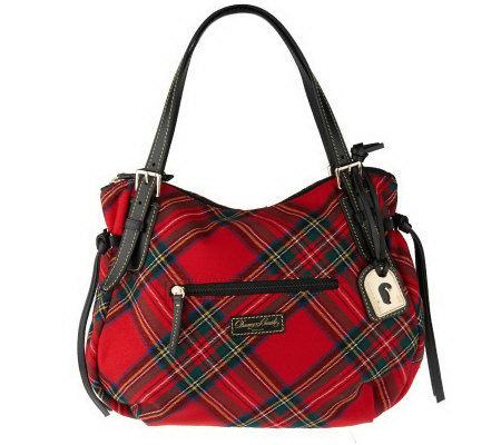 Dooney Bourke Tartan Plaid Large Nina Bag With Front Pocket