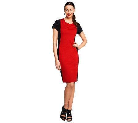 Joan Rivers Short Sleeve Illusion Sheath Dress