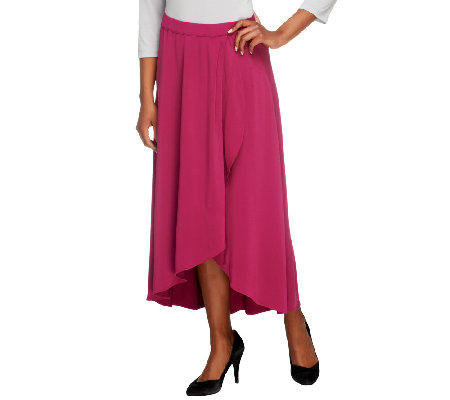 Bob Mackie's Jersey Knit Pull-On Faux Wrap Skirt