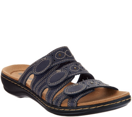 """As Is"" Clarks Bendables Leisa Cacti Leather Triple Strap Slides"