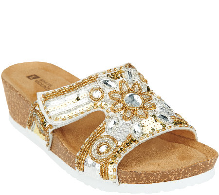 White Mountain Slip-on Wedges w/ Beading Detail - Blinker