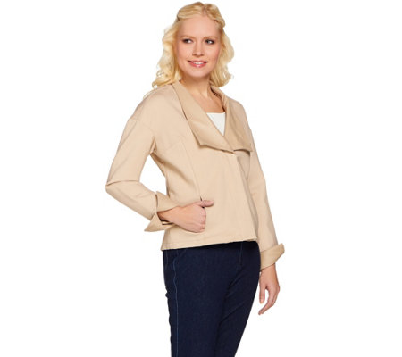 H By Halston Ponte Knit Jacket With Leather Lapel And Cuffs