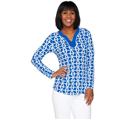 Susan Graver Printed Liquid Knit Split Neck Top