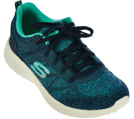 Skechers Soft Knit Lace-Up Sneakers - Burst