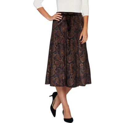 Susan Graver Printed Stretch Velvet Pull-On Skirt