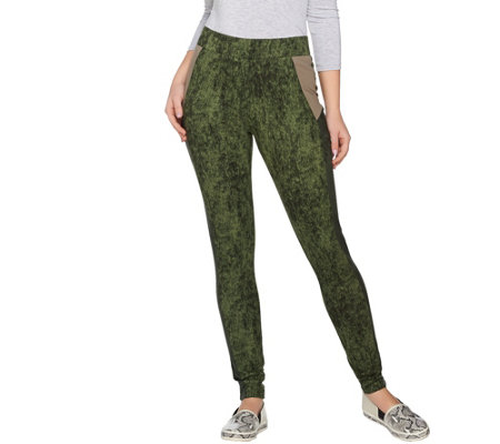 LOGO by Lori Goldstein Printed Leggings with Faux Suede Trim