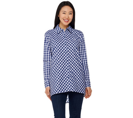 Joan Rivers Gingham Boyfriend Shirt with Hi-Low Hem