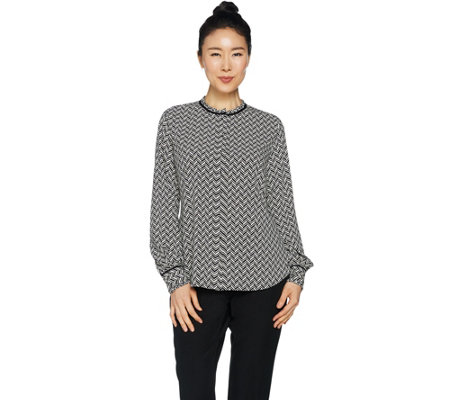 Susan Graver Printed Woven Button Front Shirt