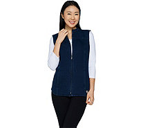 Quacker Factory DreamJeannes Zip Front Vest with Quilting Detail - A294224