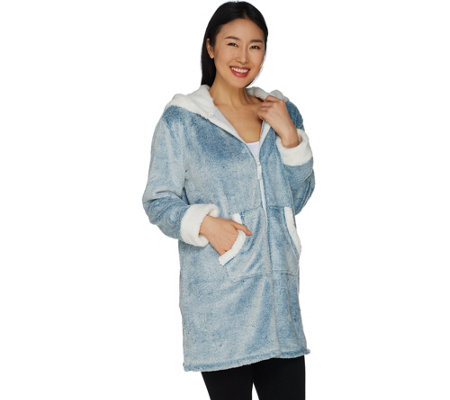 Cuddl Duds Frosted Fleece Zip-Up Robe with Sherpa Trim - Page 1 ... 3e19ec257