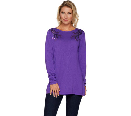 Bob Mackie Boat Neck Pullover with Sequin Shoulder Detail