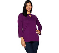Kelly by Clinton Kelly Knit Top with Cutout Neck Detail - A297924