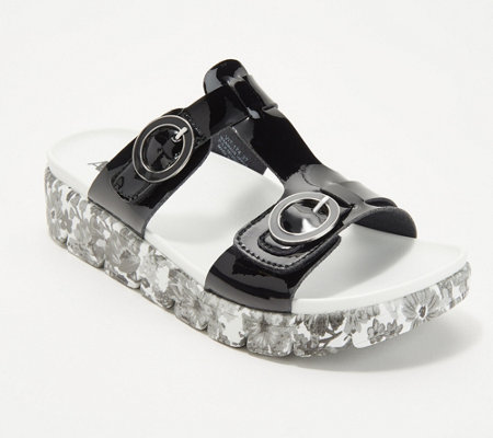 """As Is"" Alegria Leather T-Strap Slide Sandals - Vita"