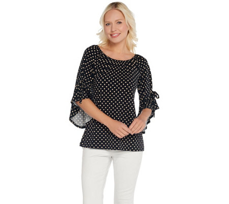 Attitudes by Renee Como Jersey Dot Flounce Flutter Sleeve Top