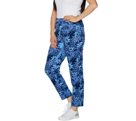 """As Is"" Denim & Co. Active Floral Pinted Slim Leg Knit Ankle Pants"