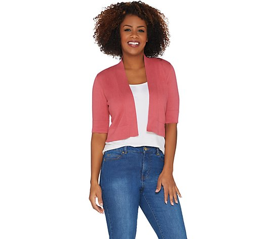 Isaac Mizrahi Live! Essentials Cropped Sweater Cardigan