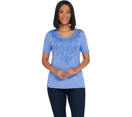 Susan Graver Weekend Stretch Cotton Modal Top with Embroidery