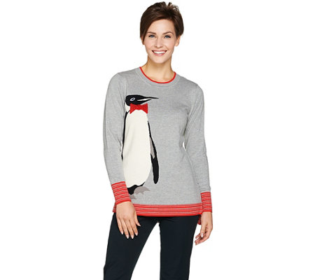 """As Is"" C. Wonder Knit Intarsia Penguin Sweater w/Embellishment"