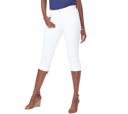 NYDJ Marilyn Crop Jeans w/ Cuff Detail - Optic White