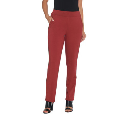 Bob Mackie's Regular Cotton Modal Pull-On Straight Leg Pants