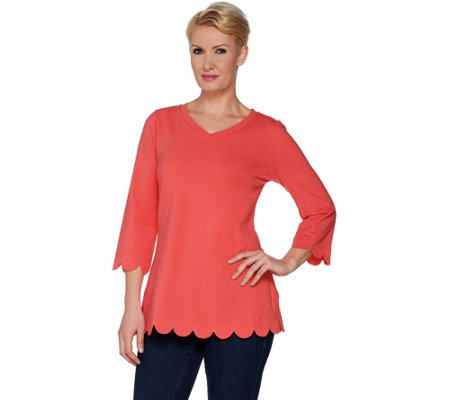 """As Is"" Isaac Mizrahi Live! 3/4 Sleeve Scallop Detail Tunic"
