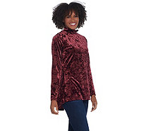 Isaac Mizrahi Live! Crushed Velvet Mock-Neck Top w/ Peplum Back - A344324